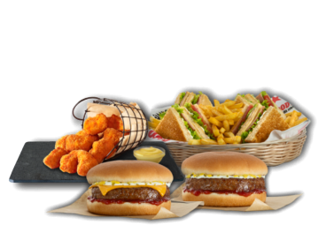 2 Cheeseburger ή Hamburger, Club Sandwich  & chicken nuggets - Προσφορές Delivery Deals Goody's